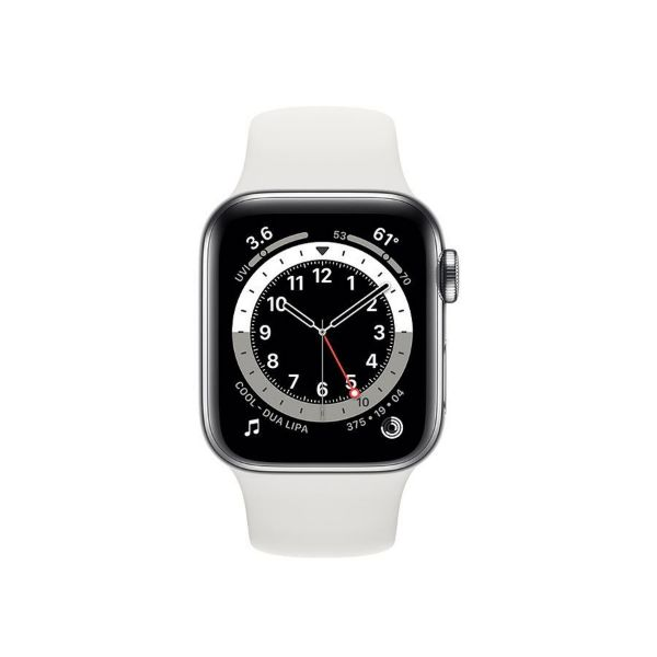 Picture of 44mm Apple Watch Series 6 GPS + Cellular,  Stainless Steel Case with Sport Band - Regular